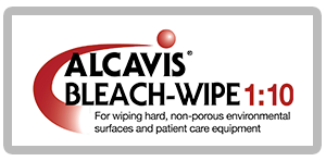 Alcavis Bleach-Wipe 1:10 red curve with red ball above for wiping hard, non-porous environmental surfaces and patient care equipment