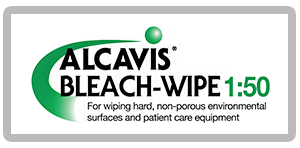 Alcavis Bleach-Wipe 1:50 green swirl and green ball with for wiping hard, non-porous environmental surfaces and patient care equipment