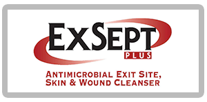 Label for ExSept Plus with red ellipse and words antimicrobial Exit site skin & wound cleanser