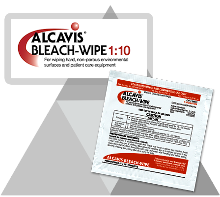 rubber gloved hand with alcavis 1:10 bleach wipe cleaning up a red blood spill