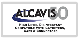 Alcavis 50 with blue swirl high-level disinfectant compatible with catheters caps and connectors