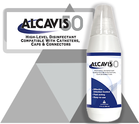 bottle of Alcavis 50 with logo and blue swirl reading high-level disinfectant compatible with catheters caps and connectors on grey triangle