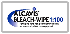 alcavis bleach-wipe 1:100 blue curve with blue ball saying for wiping hard, non-porous environmental surfaces and patient care equipment