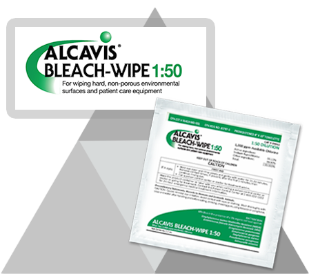 Alcavis Bleach-Wipe 1:50 with green label and logo on grey triangle background