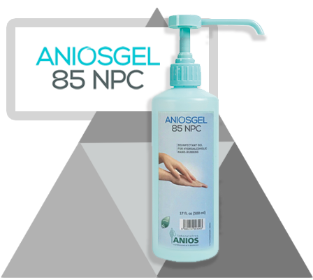 pump bottle of Aniosgel 85 NPC with large name on grey triangle